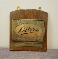 "Vintage Oak and Brass Letter Holder ""Letters"" (Wall-Mountable Mail Engraved)"