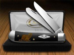 Case xx Trapper Knife Gold Turkey Black Delrin 1/500 Stainless Pocket Knives