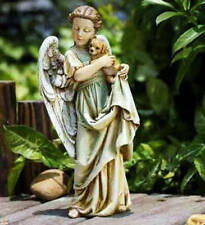 "12"" ANGEL & PUPPY GARDEN STATUE Perfect Grave Marker Memorial"