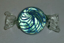 """Art Glass Large Candy Murano Blue Stripes Vtg Figurine Paperweight 5.75"""""""