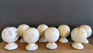 8 Vintage Wood Round Sphere Fence Post Finial- architectural salvage farm house