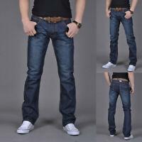 Men's Pure Color Denim Vintage Wash Slim Trousers Casual Jeans Pants Plus Size