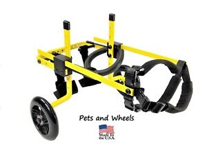 Pets and Wheels Pet Wheelchair/Cart - For S/M Size Dog - Color Yellow 20-45 Lbs