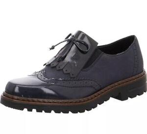 P/236* Womens Black Rieker Brogue Shoes Size EU 40