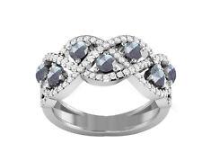 Labradorite,Cubic Zirconia Sterling Silver Ring Women Wedding Infinity Band Ring