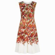 Hobbs Red Floral Print 'Nia' Skater Summer dress Women's size 8