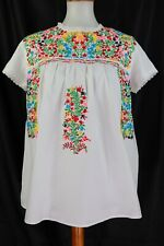 Mindy Maise Market Embroidered White Floral Top Short Sleeve Large
