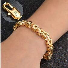 9MM 18K Yellow Gold Filled Rope Men Chain Bangle Bracelet Gift Party Jewelry New