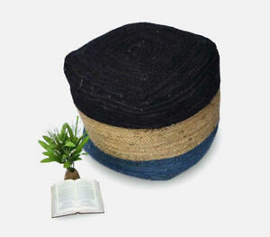 Multi Jute Handmade Pouf Cover Round 18x18x18 In Natural Jute Pouf Cover Only