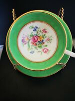 Cup and Saucer Windsor Bone China England Garden Green flowers gold trim