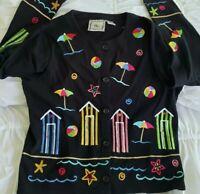 Michael Simon Lite Cardigan Sweater ArtS Embroidered Black Button Down Beach EUC