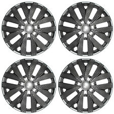 "4pc Hub Cap Carbon Fiber Gray / Gunmetal / Charcoal Silver 15"" Wheel  Cover Caps"