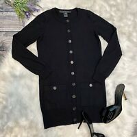 Marc Jacobs Womens Wool Cardigan Size Small Black Button Front Long Style