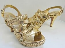 Prada 36.5 US sz 6M Gold Braided Leather Slingback Platform Heels Italy
