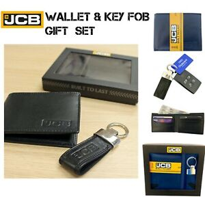 JCB Gift Set Mens Genuine Black Leather Wallet & JCB Key Ring Fob Christmas Gift