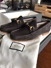 Men's Gucci Loafers Size UK 7 EU 40-41 Brown Suede Shoes RRP £525 New With Box
