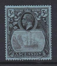 ASCENSION 1924 3/- GREY-BLACK & BLACK/ BLUE SG 20 FINE USED.