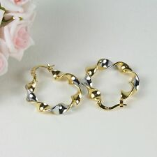 E17 18K Yellow & White Gold Filled 2.8 cm Hoop Twist Earrings - Gift Pouch