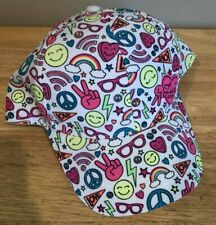 Girls Justice Baseball Cap Hat One Size White Neon Emoji