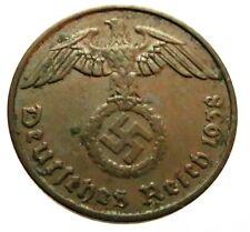GERMAN WW 2 (Third Reich) original coin 2 Reichspfennig 1938 F
