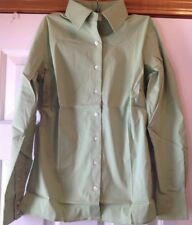 fce7a6ccf64 Lands end pálido esmeralda botón frontal Ls Stretch popelina camisa tamaño  0P