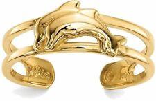 14K Gelbgold Zwei Delfine in Ausschnitt Ehering Design Zehen Ring