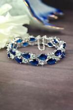 Gorgeous Navy Blue Pear Shape 46.98ct Sapphire & Round 7.20CT CZ Bridal Bracelet