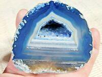 A Polished Deep BLUE Banded Agate Quartz Crystal Geode 465gr