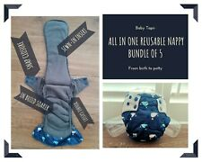 5 x Reusable bamboo charcoal nappies with sewn-in inserts : Whale