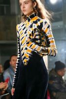 $1395 Proenza Schouler NEW Yellow Multi Tie Dye Turtleneck Velvet Maxi Dress XS