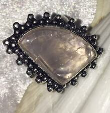 Stunning Handmade Pale Pink Quartz Crystal Silver Plated Statement Ring - V 1/2