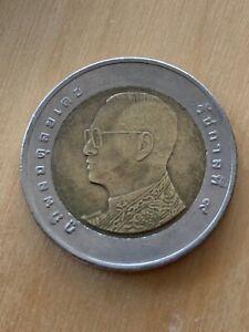 Thailand 10 Baht Bimetallic Coin King Bhumipol Adulyadej 2015 Free Shipping