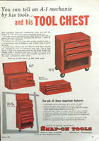 1961 Snap-On Tools Ad You Can Tell An A1 Mechanic by His Tools & Tool Chest