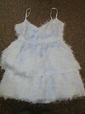 BNWT UK 14 Topshop Dress Pastel Blue Tinsel Fluffy Netting Underlayer Vintage