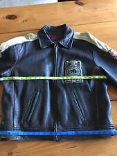 Guess Men's Leather Bike  Jacket  Heavy Weight Champ 1981 Varsity Size M Used