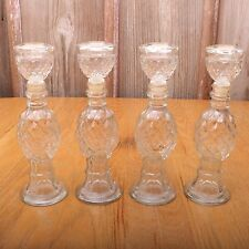 4 Vintage Diamond Pattern Avon Glass Candle Holders Bottles