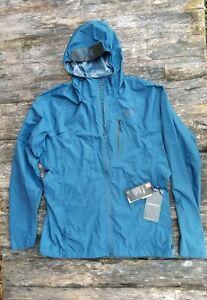 $160 Men's UNDER ARMOUR large STORM PROOF PERTEX blue rain jacket New