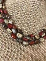 Vintage Bohemian Hand Knotted 3 Strand Picasso Glass Bead Beaded Choker Necklace