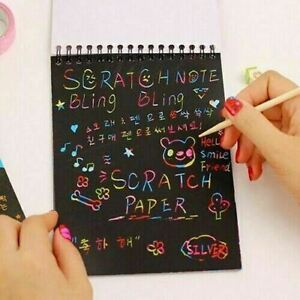 Scratch Book Scraping Magic Painting Paper Art Drawing Stick Toy Kids Gift