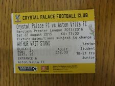 22/08/2015 Ticket: Crystal Palace v Aston Villa  . Unless previously listed in b