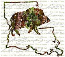 Camo Hog Boar  Louisiana State Outline Hunter Vinyl Decal Sticker Hunting Swamp