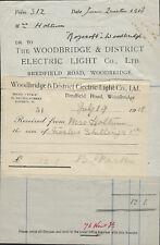 WOODBRIDGE: WOODBRIDGE ELECTRIC LIGHT COMPANY-1918 Invoice + attached receipt