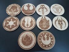 Star Wars Coasters Set of 10, Anniversary Christmas Fan Gift Wooden Engraved