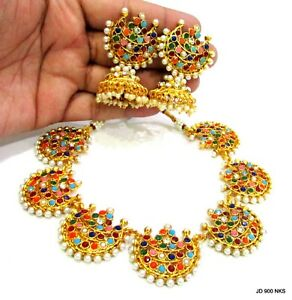 Indian Traditional Navratan Gold Plated Stone Bollywood Fashion Jewelry Set Gift