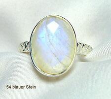 Mondstein Ring 925 Sterling Silber blauer facettierte Edelstein ver. Größen neu