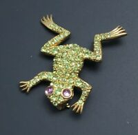 Vintage Frog Brooch Pin in enamel on gold tone metal with crystals