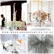 Set of 8 Silver candleabra hire  | Wedding Centrepieces | Up To 10 Available