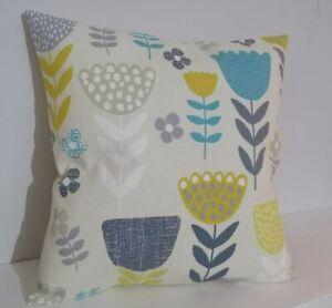 "18"" Cushion Cover Teal Grey Ochre Mustard Yellow Scandi Flowers"