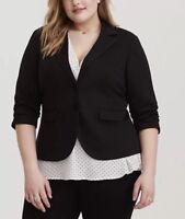 Torrid Studio Ponte Blazer Size 4 Black Two Button Stretch V-neck 3/4 Sleeves
