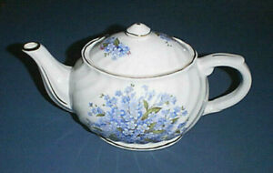 CROWN DORSET Staffordshire England White Ceramic Teapot with Blue Forget Me Nots